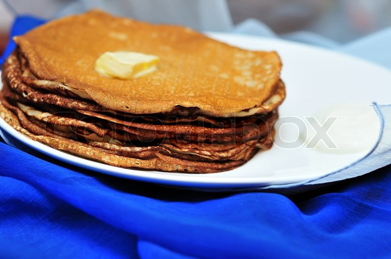 Stock image of 'Pile of tasty pancakes in soft focus'