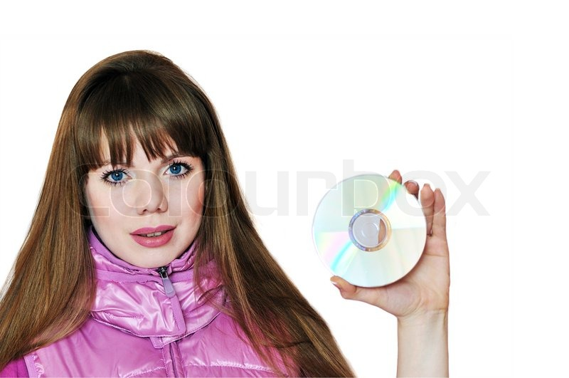 Stock image of 'Girl holding disk'