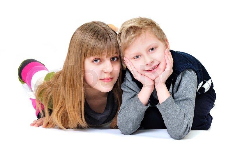 Stock image of 'Happy brother and sister'
