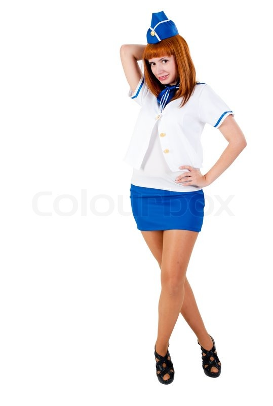 Stock image of 'Young beautiful air hostess'
