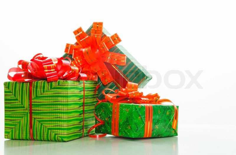 Stock image of 'Green boxes with presents'