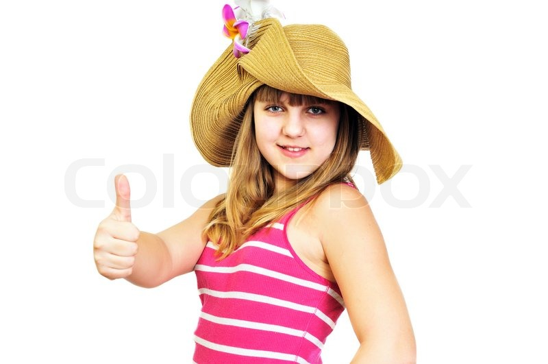 Stock image of 'Funny summer teen showing thumbs up'