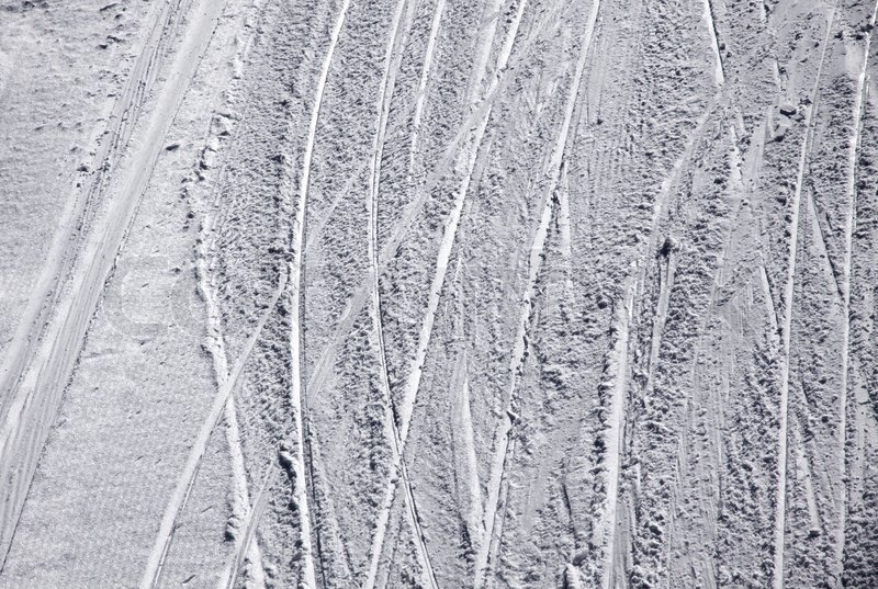 Stock image of 'Ski traces on a snow on the mountain slope'
