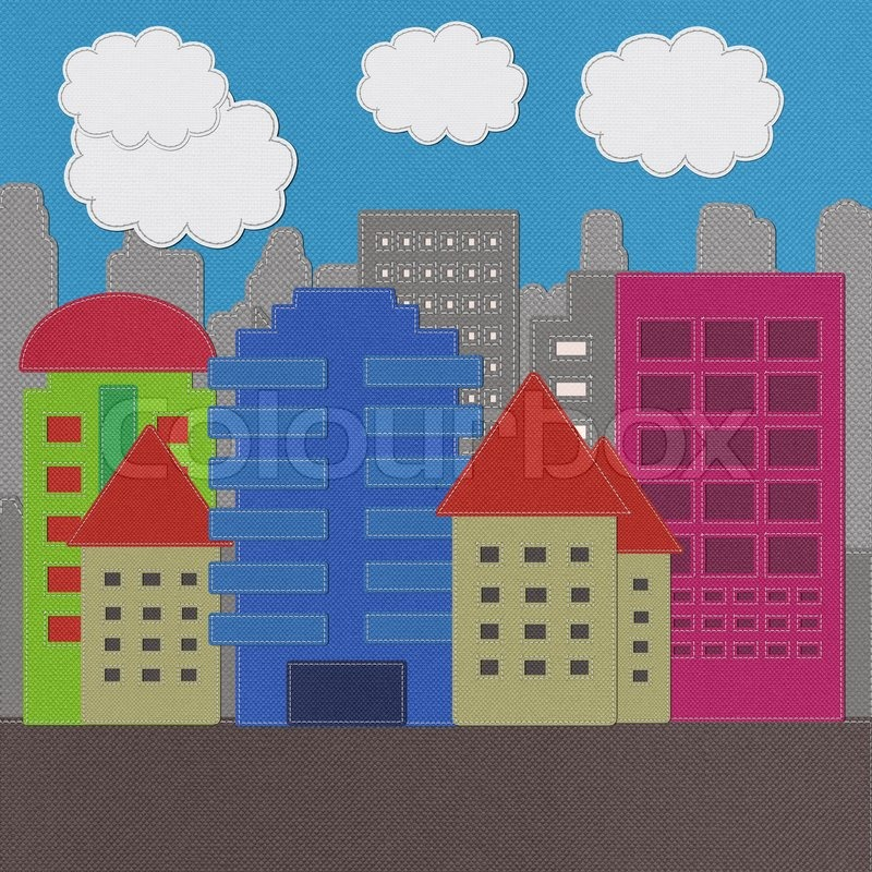 Stock image of 'Morden Building with stitch style on fabric background'