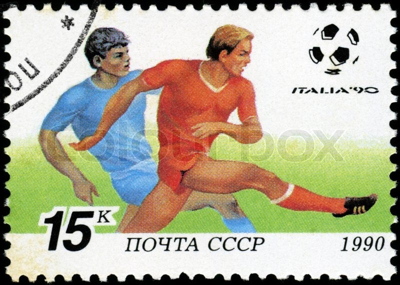 Editorial image of 'USSR - CIRCA 1990: a stamp printed by USSR shows football players World football cup in Italy, series, circa 1990'