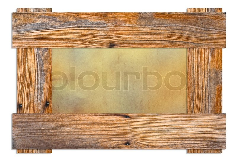 Stock image of 'Old wooden frame with dirty paper'