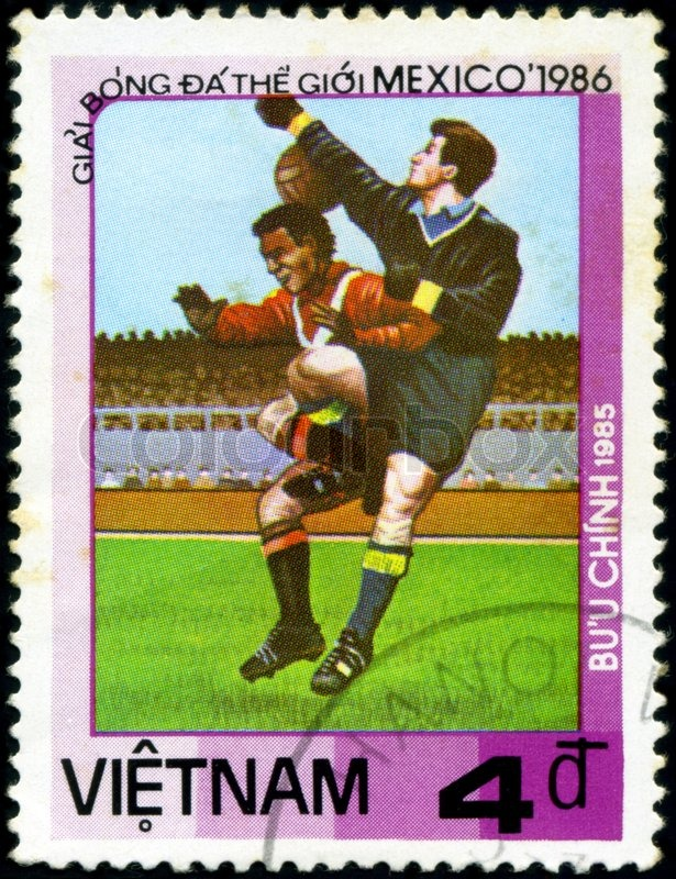 Editorial image of 'VIETNAM - CIRCA 1985: a stamp printed by VIETNAM shows football players. World football cup in Mexico 1986, circa 1985'