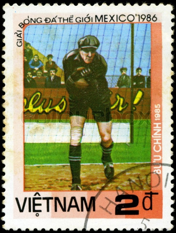 Editorial image of 'VIETNAM - CIRCA 1985: a stamp printed by VIETNAM shows football players World football cup in Mexico 1986, circa 1985'
