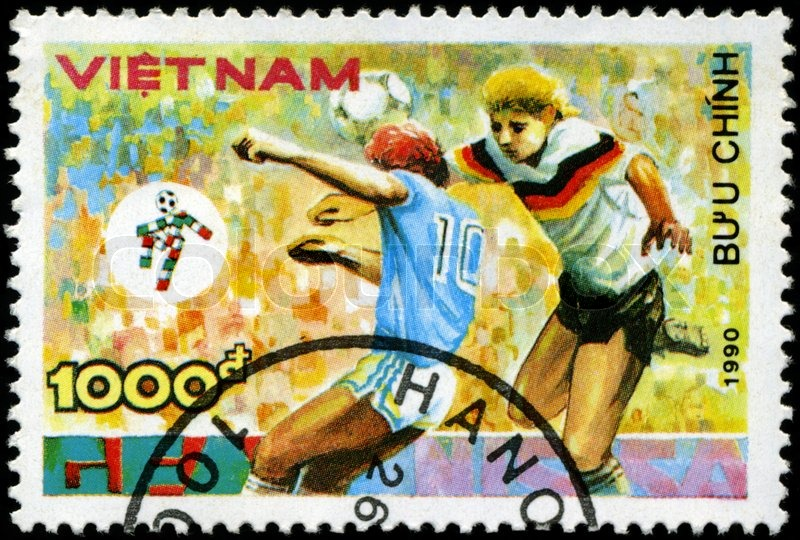 Editorial image of 'VIETNAM - CIRCA 1990: a stamp printed by Vietnam shows football players World football cup in Italy, series, circa 1990'