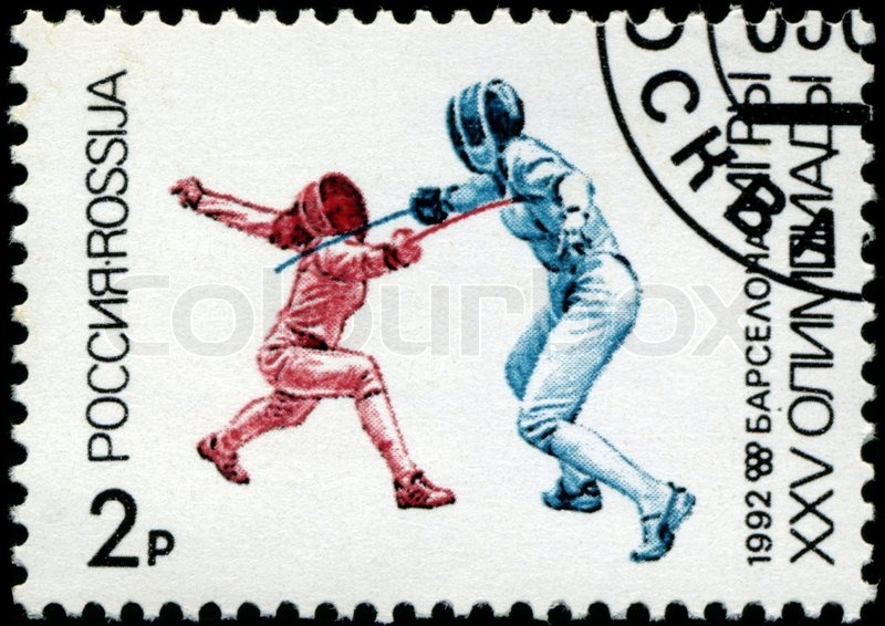 Editorial image of 'USSR - CIRCA 1992: A stamp printed in the USSR showing fencers, circa 1992'