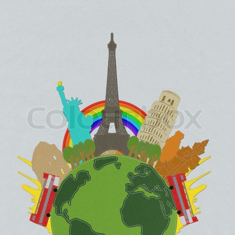 Stock image of 'World travel concept with stitch style on fabric background'