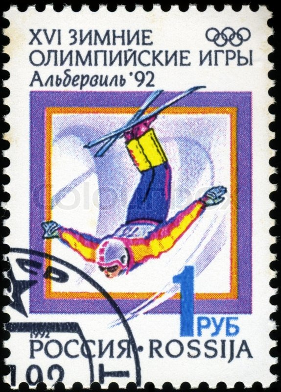Editorial image of 'RUSSIA - CIRCA 1992: A stamp printed in Russia, shows freestyle, with inscription and name of series