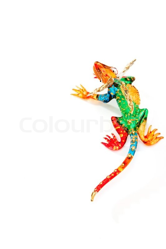 Stock image of 'colorful chameleon  blown glass on white background,reptile symbol colorful design on blown glass'