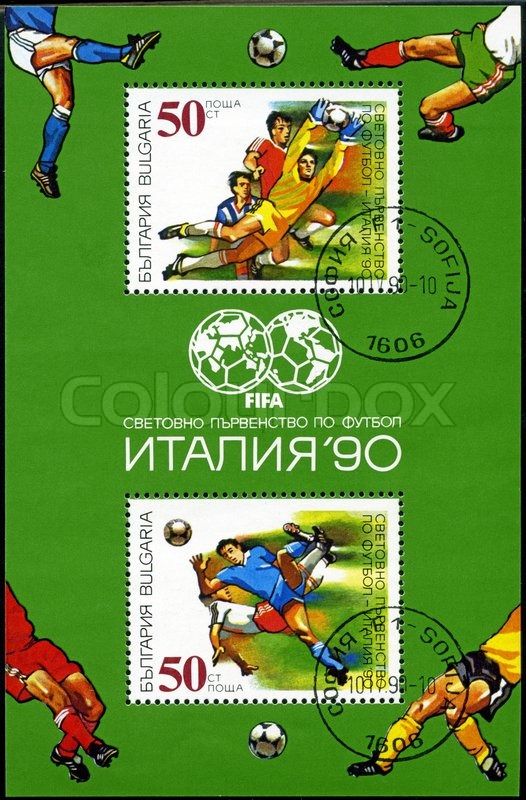 Editorial image of 'BULGARIA - CIRCA 1990: A post stamp printed in Bulgaria, shows football players, devoted word cup in Italia 1990, series, circa 1990'