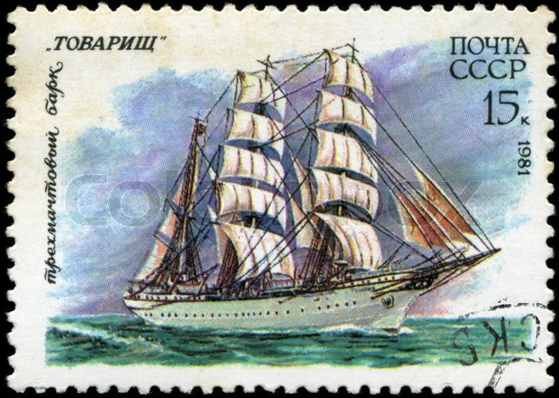 Editorial image of 'USSR- CIRCA 1981: a stamp printed by USSR, showsrussian sailing three masted barque