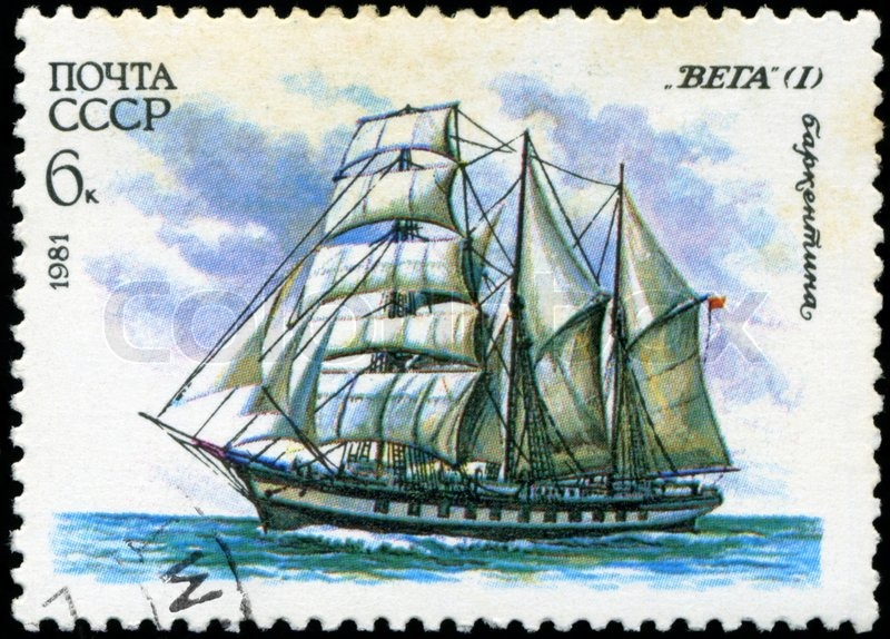 Editorial image of 'USSR- CIRCA 1981: a stamp printed by USSR, showsrussian sailing barquentine