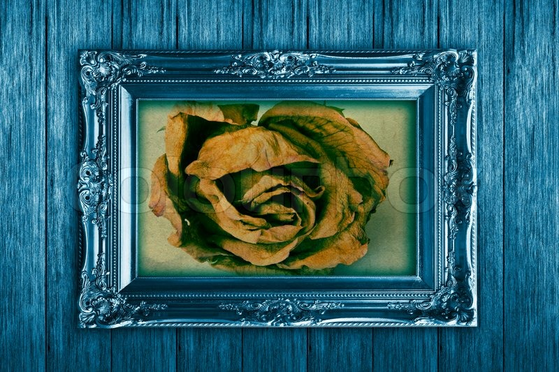 Stock image of 'Frame on vintage wooden wall blue'