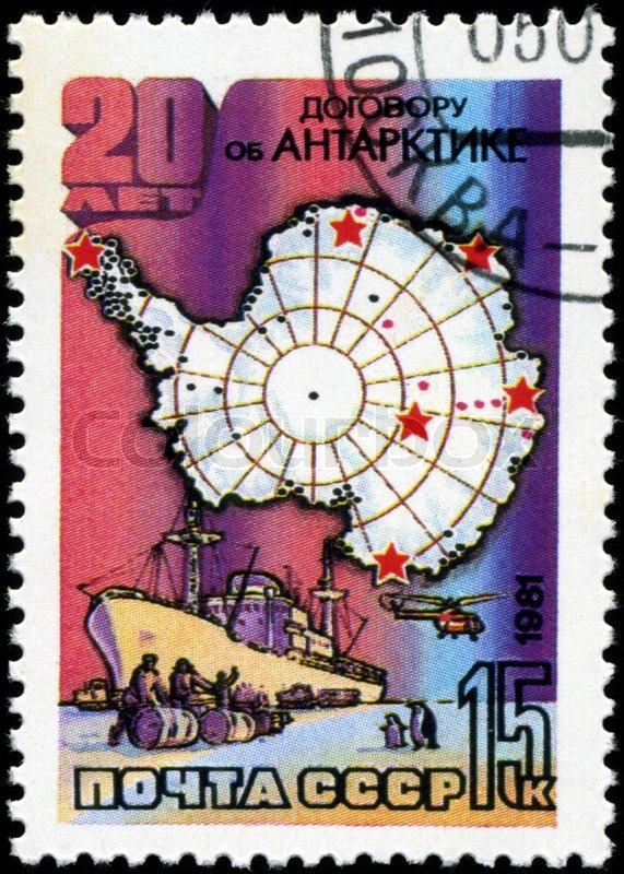 Editorial image of 'USSR-CIRCA 1981: A stamp printed in the USSR, 20 years of the Antarctic Treaty, circa 1981'