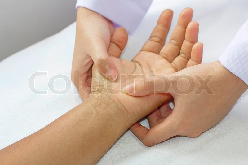Stock image of 'Digital pressure hands ,deep fixtion massage therapy physiotherapy '