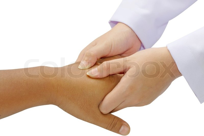 Stock image of 'Close-up ofphysical therapist giving hand massage'