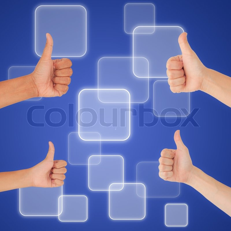 Stock image of 'thumbs up on digital button background, like concept'