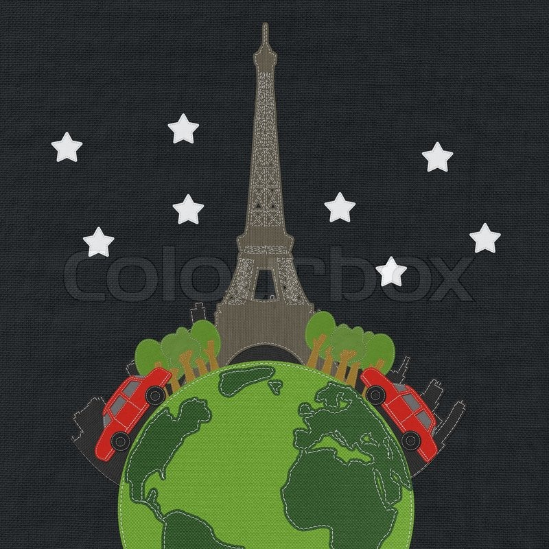 Stock image of 'Eiffet travel concept with stitch style on fabric background'