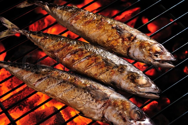 Stock image of 'Grilled fish on the grill ,(saba)'