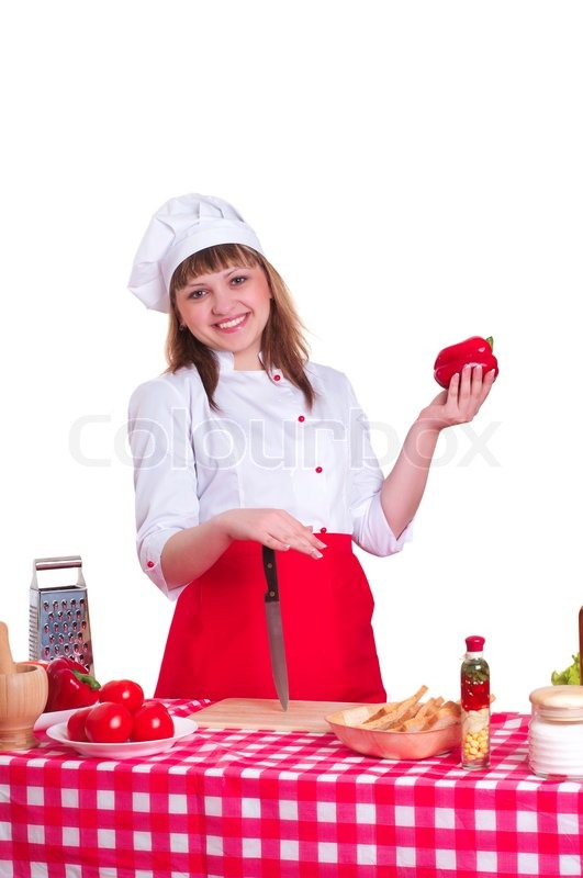 Stock image of 'Attractive woman cooking'