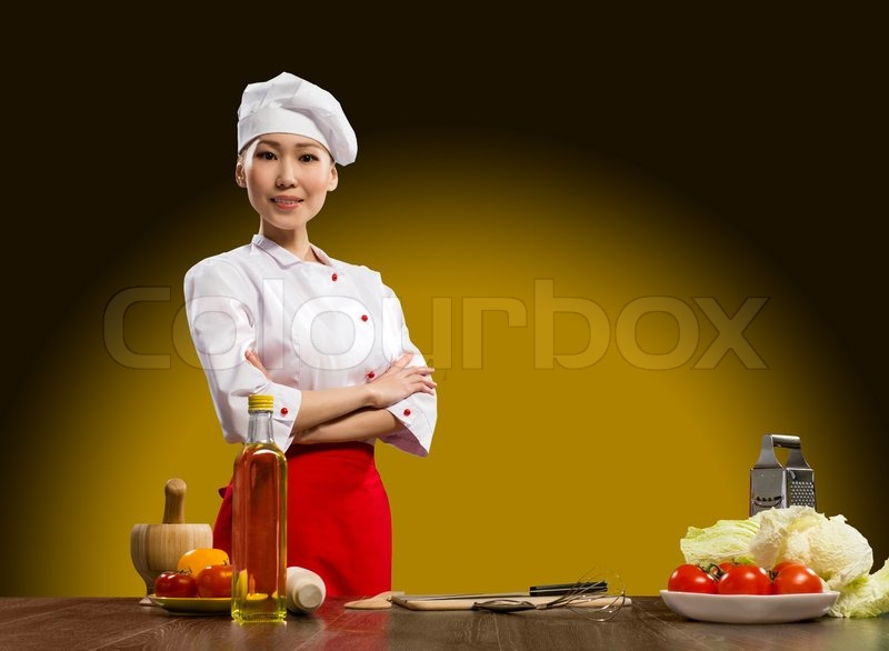 Stock image of 'Portrait Asian woman cooks'