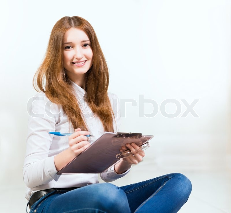 Stock image of 'Portrait of an attractive woman'