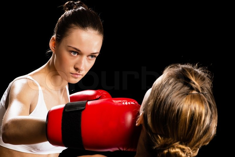 Stock image of 'Woman boxing'