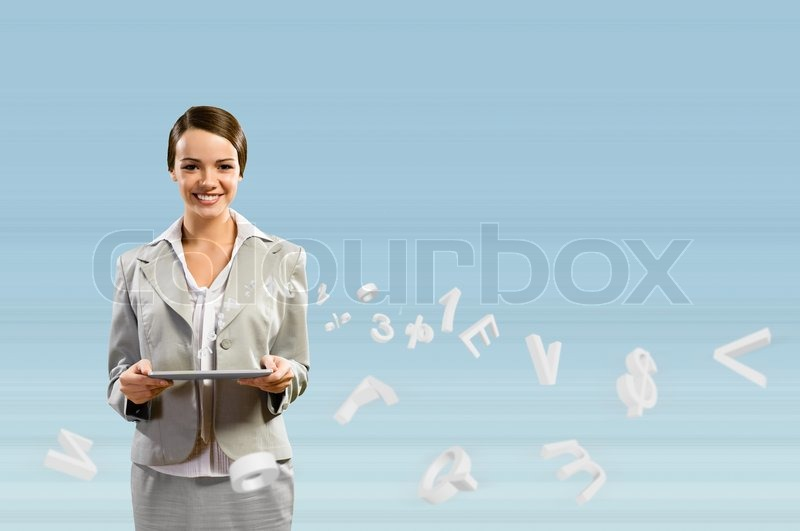 Stock image of 'Attractive business woman holding a tablet'