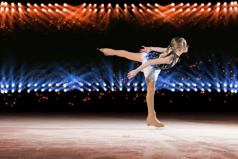 Stock image of 'Performance of young skaters, ice show'