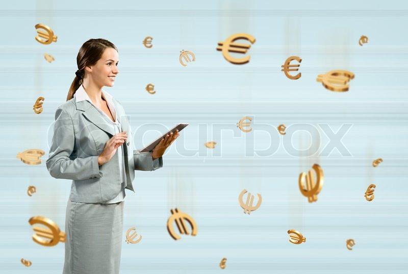 Stock image of 'Business woman holding a tablet'