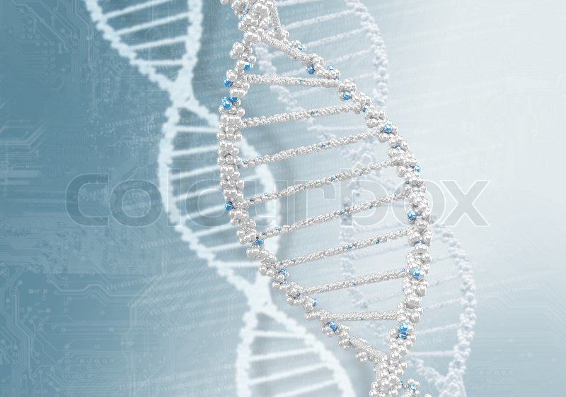 Stock image of 'DNA helix against the colored background, scientific conceptual background'