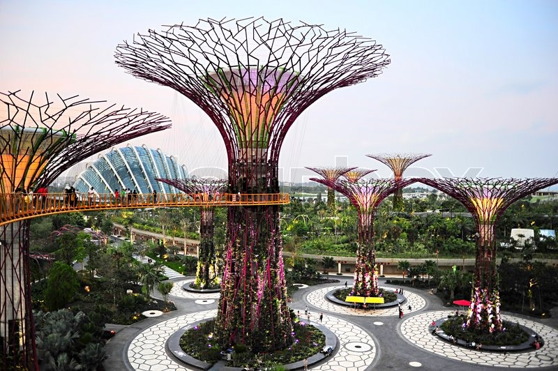 Editorial image of 'Gardens by the Bay at dusk'