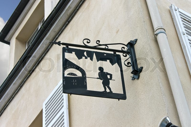 Stock image of 'A sign on the front of the house in Chartres, France'
