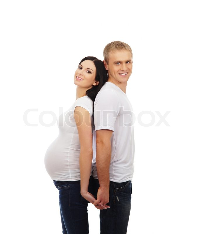 Stock image of 'Beautiful pregnant woman and her husband isolated on white'