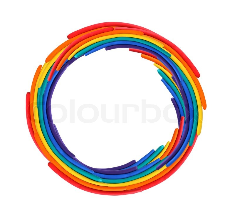 Stock image of 'Circle frame made from color plastisine on white background'