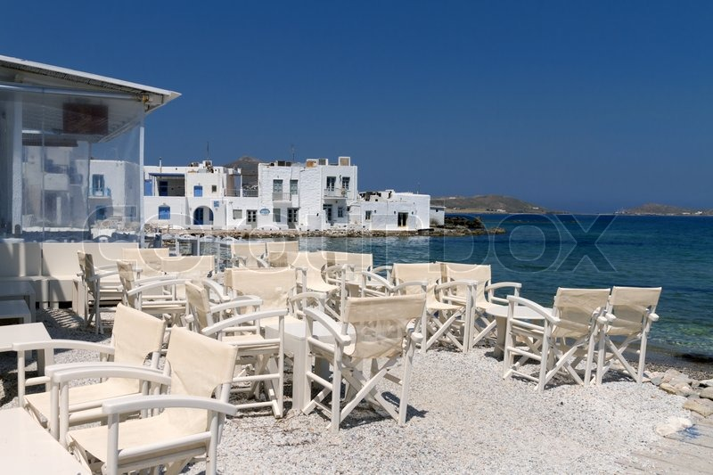 Stock image of 'Restaurant taverns in greek island'
