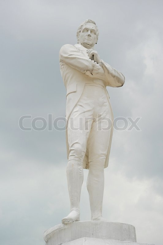 Stock image of 'Statue of Sir Tomas Stamford Raffles - best known for his founding of the city of Singapore He is often described as the