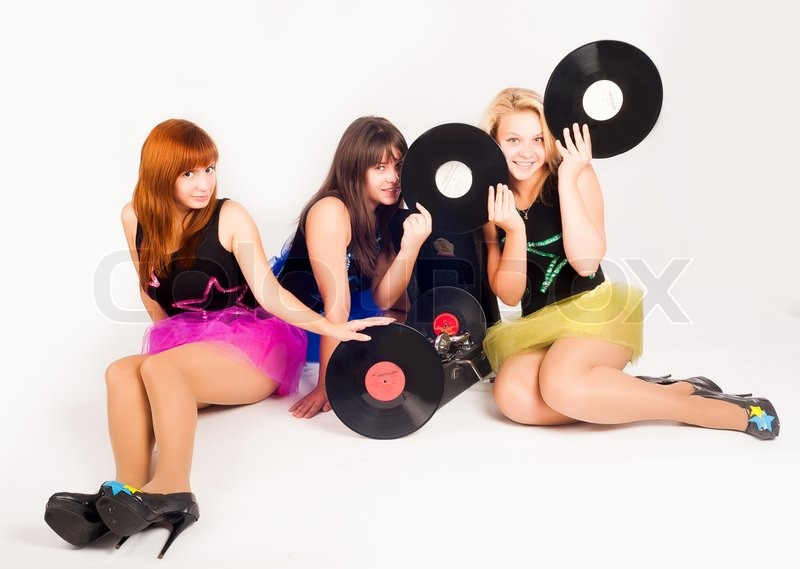 Stock image of 'Three pretty girls with gramophone'