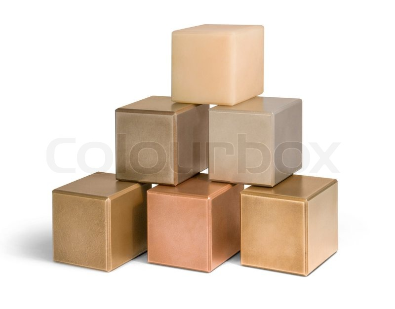 Stock image of 'Mostly metallic cubes'