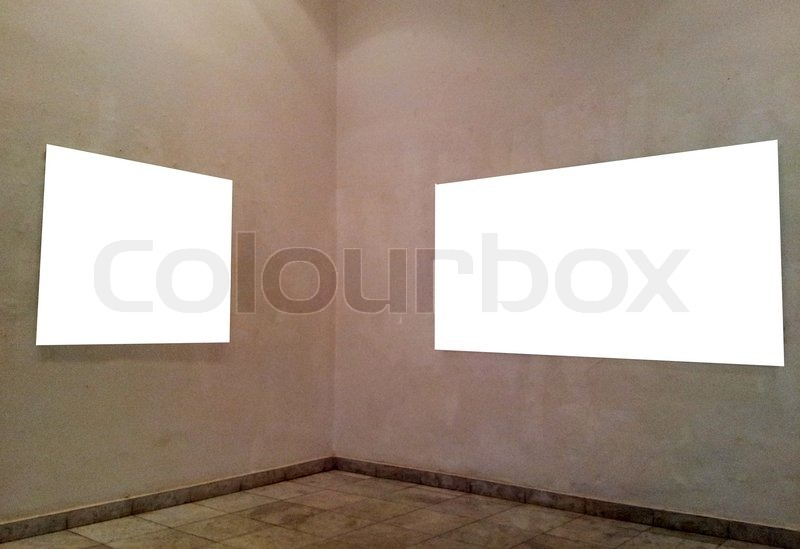 Stock image of 'Empty frames on gallery wall'