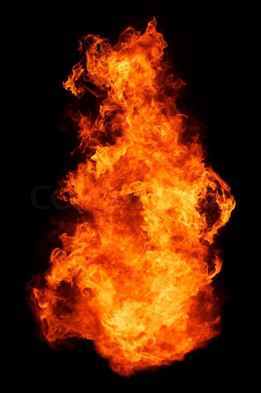 Stock image of 'Blaze fire flame isolated on black background'