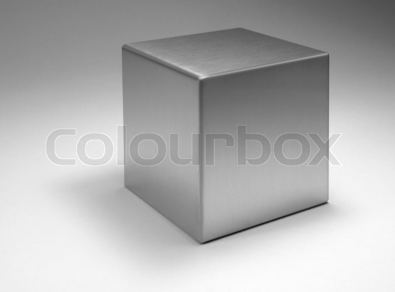 Stock image of 'Solid metallic cube'