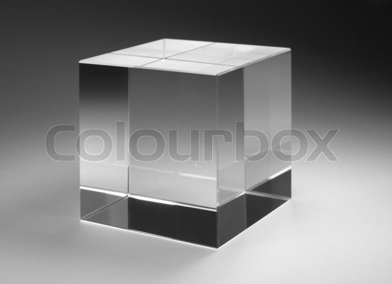 Stock image of 'Solid glass cube'