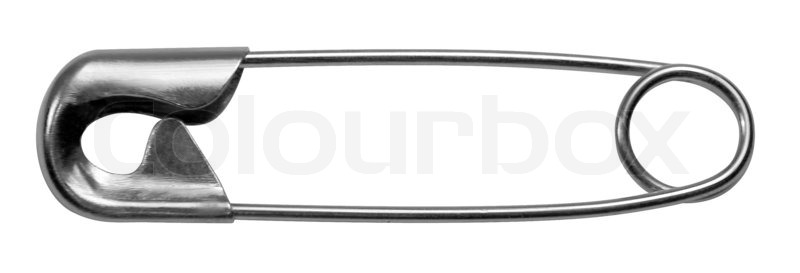 Stock image of 'studio photography of a safety pin in white back'