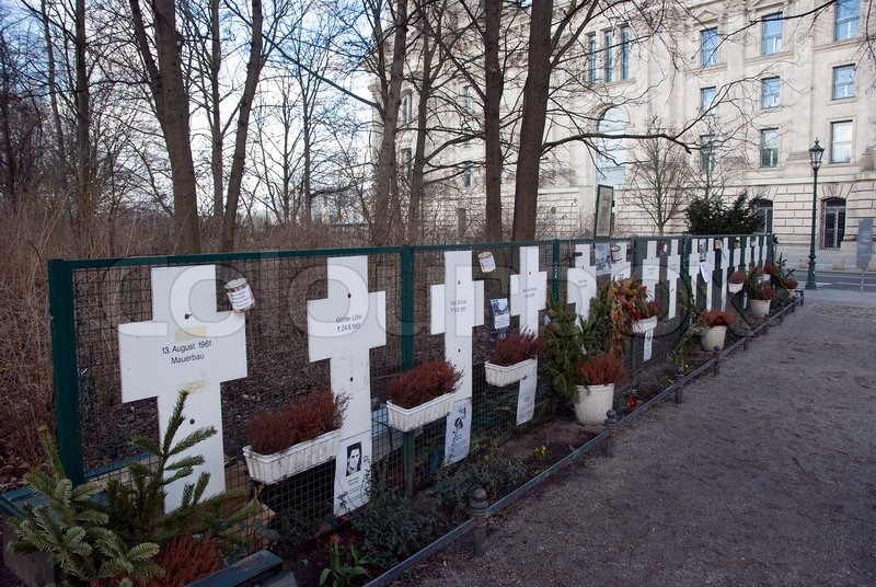 Editorial image of 'Grave crosses near the brandenburger tor Berlin'