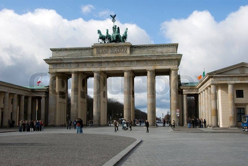 Editorial image of 'People walking at the brandenburger tor in Berlin'